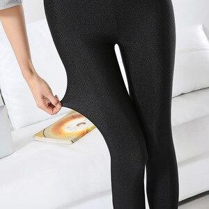 Image 4 - S 3XL Size Women Shiny Black Legging Autumn Ladies Push Up Slim Leggings High Waist Stretchy Soft  Large Size Women Legging Y077