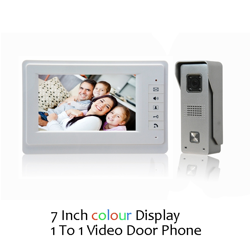 (1 Set) Video Door Phone Talkback 7 Inch Screen Door Access Intercom 1 To 1 Door Bell Video Intercom Night Version Free Shipping