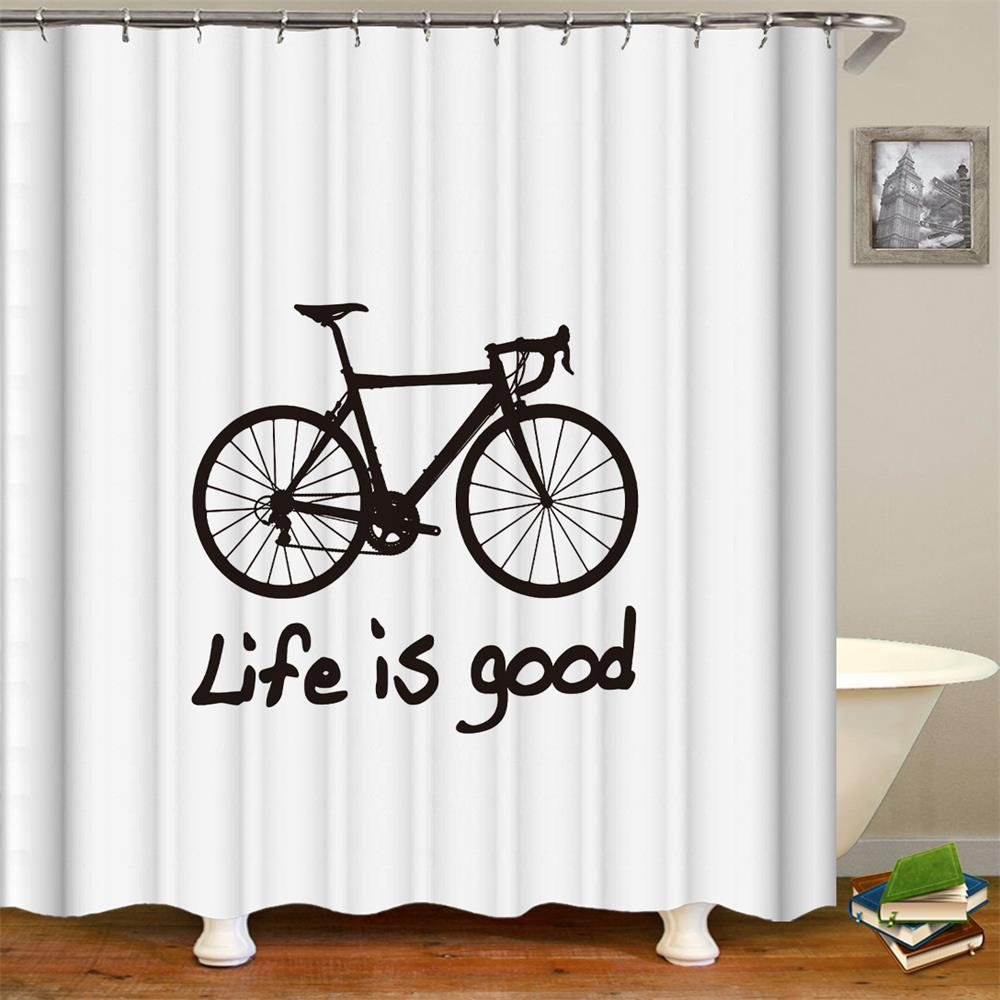 Bicyle Bike Shower Curtain With Quotes Life Is Good Design