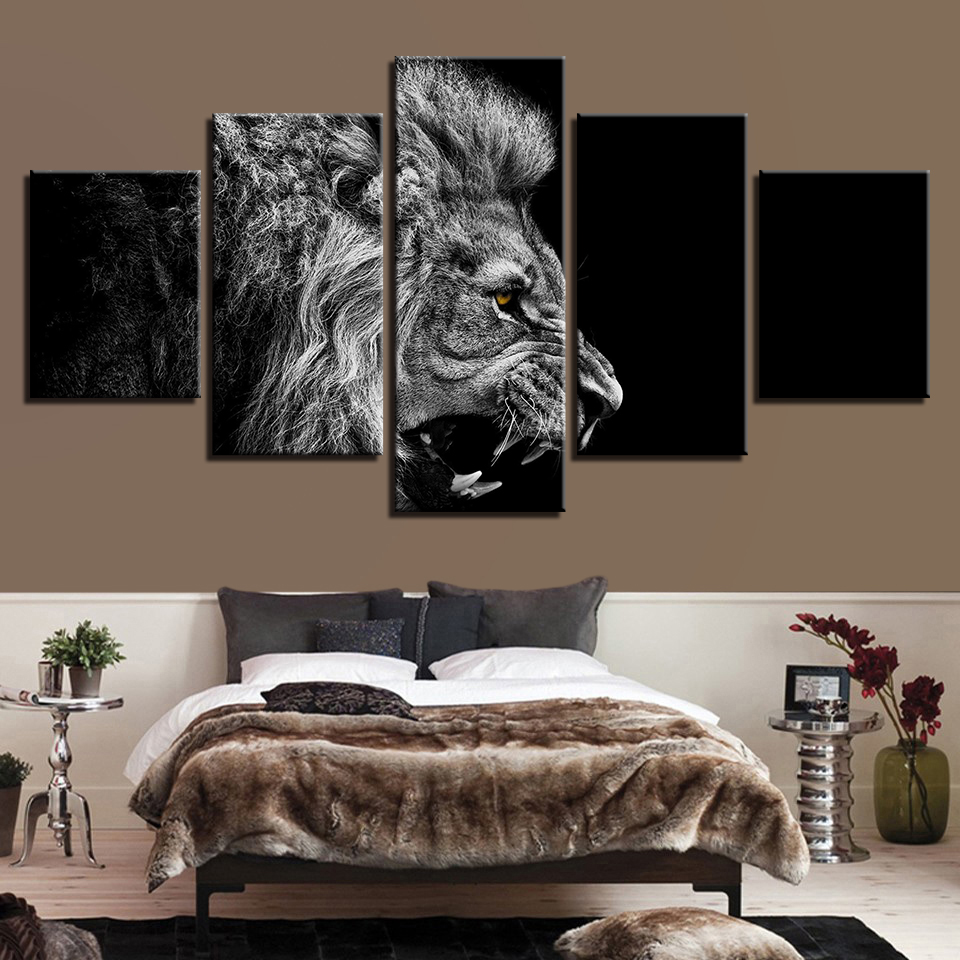 Canvas Paintings Wall Art Home Decor 5 Pieces Roaring Lion ...