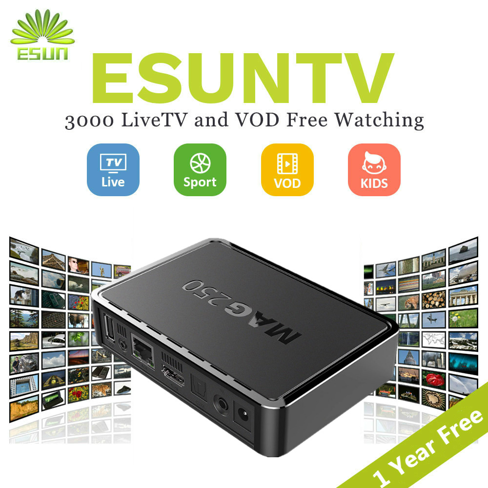 1 Year ESUNTV 3000 Free channels in Mag250 with ESUNTV Wifi USB Set Top Box French IPTV Arabic IPTV Europe IPTV Italy IPTV VOD mag250 linux system set top box usb wifi with neo iptv french iptv arabic tunisia morocco belgium channels paytv