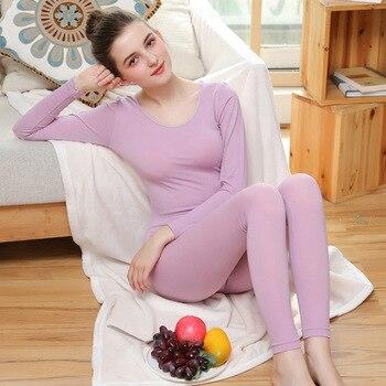 035a7f8106d5d Женские осенне-зимние кальсоны, теплая туника, термобелье, осенняя Домашняя  одежда, женское мягкое длинное нижнее белье, термомайка для жен.
