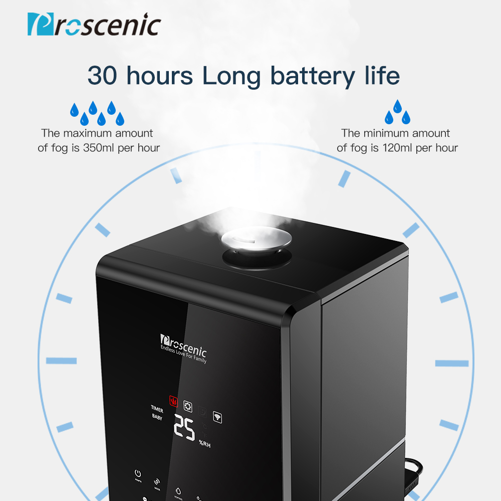 Image 4 - Proscenic 807C 5.5L Warm and Cool Mist Ultrasonic Humidifiers for Bedroom and Babies, Vaporizer with APP and Aleax Control-in Humidifiers from Home Appliances