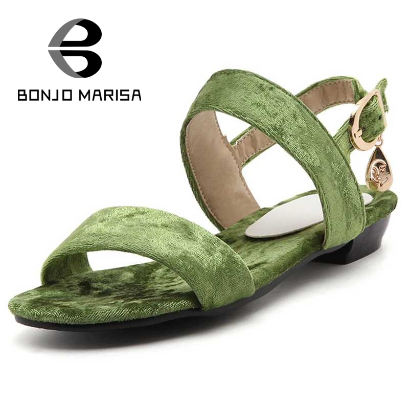 ФОТО BONJOMARISA Velvet Women Sandals Fashion Strap Flat With Open Toe Platform Summer Shoes For Woman Leisure Beach Big Size 34-43