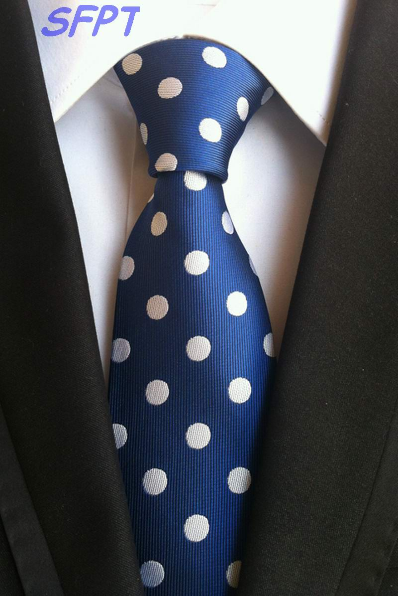 Free Shipping Dots Blue Red Silver 100% Silk New Necktie Jacquard Woven Classic Mens Neck Tie Wedding