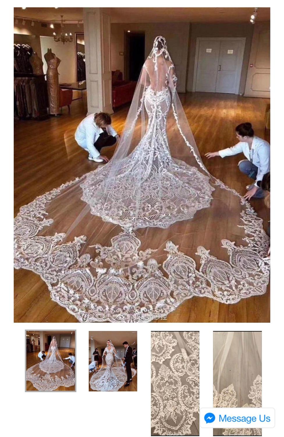 2019 New Eyelash Lace 1.5M/3M Long High-end Bridal Veil White/Ivory Wedding Veil Mantilla Wedding Accessories Veu De Noiva EE061