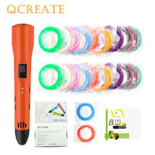 QCREATE 3D Pen ABS PLA Dual Mode Printing LCD Display Adjustable Heating Temperature 8-Speeds Add 100M Filament