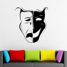 Art Comedy Tragedy Emotion Actor Theatre Mask Vinyl Wall Sticker Art Design For Home Decoration Wallpaper