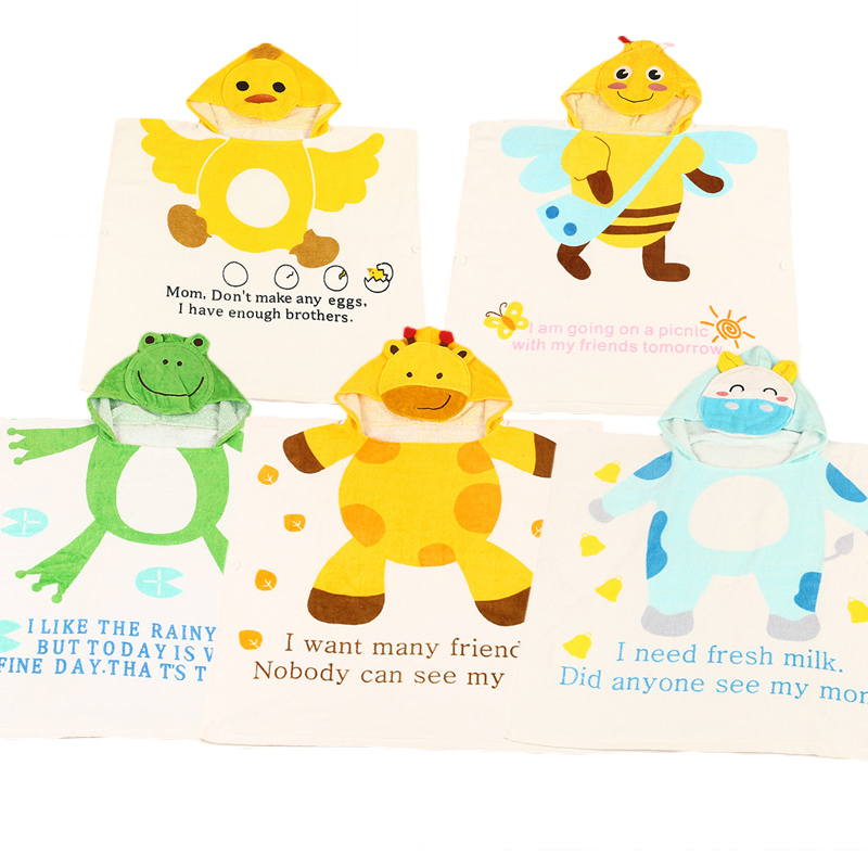 Cartton Hooded Towels Cartoon Poncho Bee giraffe Modeling Baby Kid Bath Towel Childrens  ...