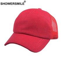 SHOWERSMILE Vintage Trucker Cap Men Cotton Linen Cap Baseball Women Red Casual Mesh Summer Plain Retro Unisex Dad Hat Snapback