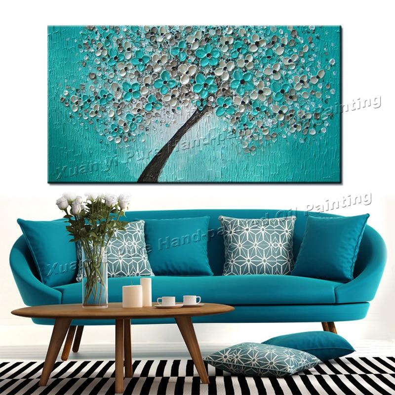 Peint à la main couteau peinture à l'huile sur toile à la main fleur mur peinture salon toile photo décor à la maison mur Art sans cadre