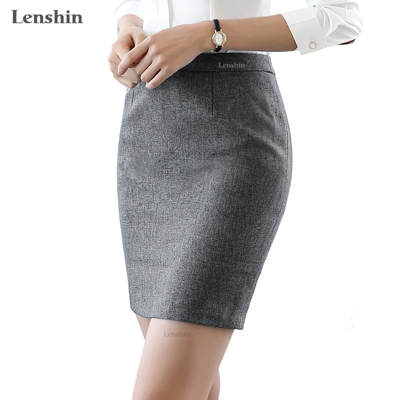 fb6d30a58b19c Lenshin Women Dark Gray Skirts Work Wear Pencil Formal Above Knee ...