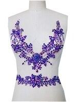 A62 fatto a mano Puro sew on Strass applique cristalli viola patch 29*26 cm/38*7 cm per il vestito FAI DA TE accessori dress