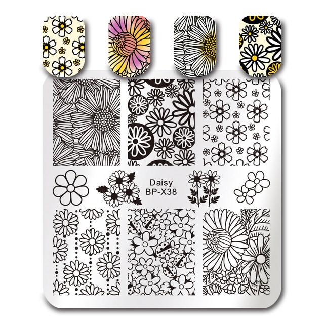 BORN PRETTY Geometry Nail Stamping Template Mandala Spring Garden Negative Space Geo Flower Leaf Stamp Nail Stamping Plates