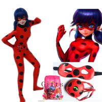 Ladybug Girl Costume Miraculous Kids Marinette Cartoon Cosplay Second Skin Halloween Party Costumes Suit Free Shipping