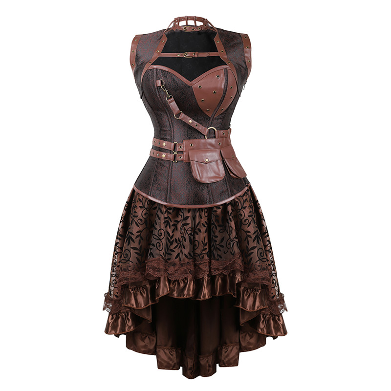 Sexy Women s Gothic Victorian Steampunk Corset Dress Vintage Overbust Corsets and Bustiers with Skirt Party