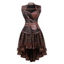 Сексуальные женские готические викторианские стимпанк корсетные платья винтажные корсеты и бюстье с юбкой вечерние костюмы на Хэллоуин