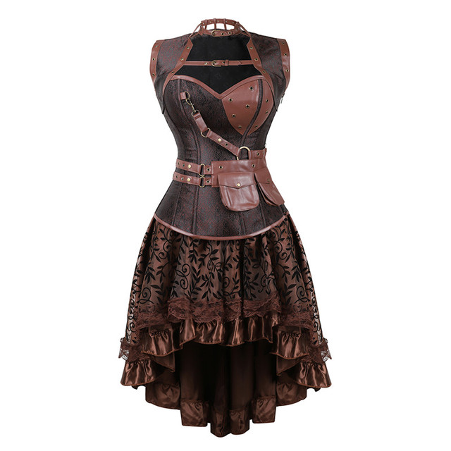Sexy Women s Gothic Victorian Steampunk Corset Dress Vintage Overbust  Corsets and Bustiers with Skirt Party Halloween costume 8954bbd9a7