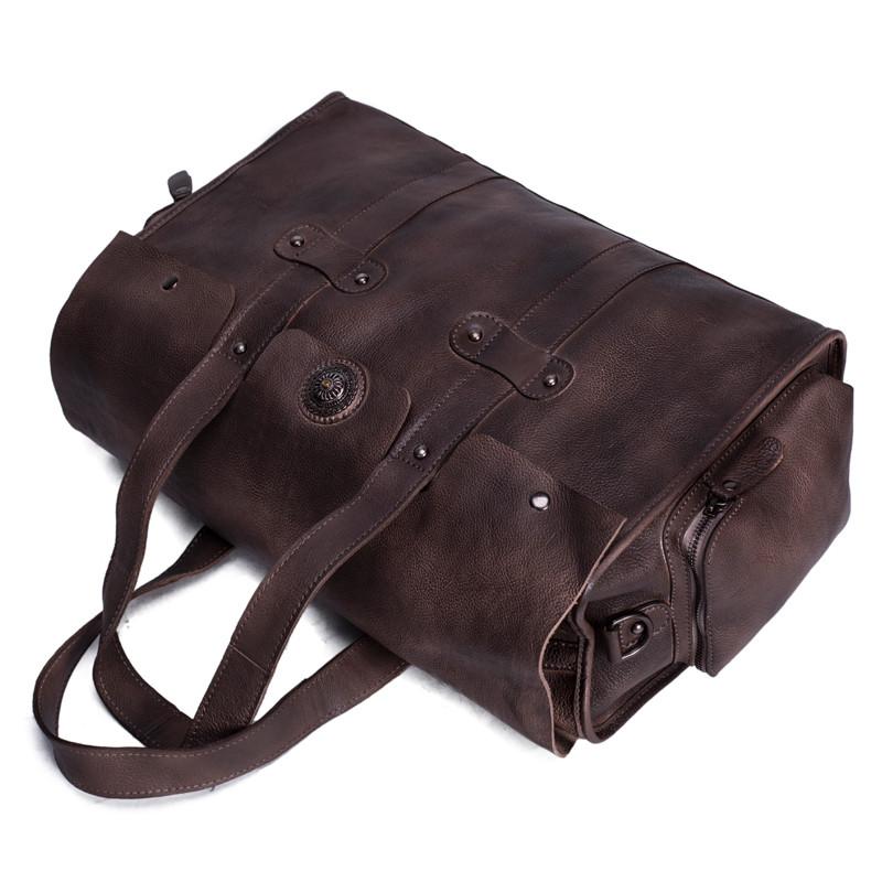 Handmade Vegetable Tanned Leather Tote Bag Travel Bag Overnight Bag 5