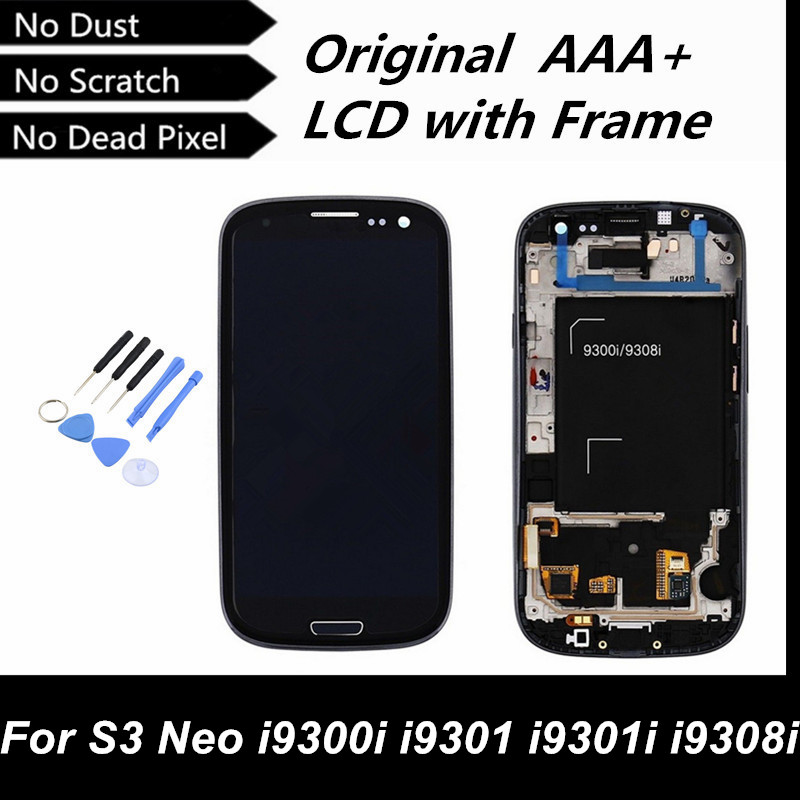 100 Test Good Original LCD Screen Digitizer with Frame for Samsung Galaxy S3 Neo i9300i i9301