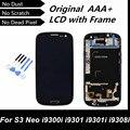 Prueba del 100% buena original lcd pantalla digitalizador con marco para samsung galaxy s3 neo i9300i i9301 i9301i i9308i teléfono reemplazar