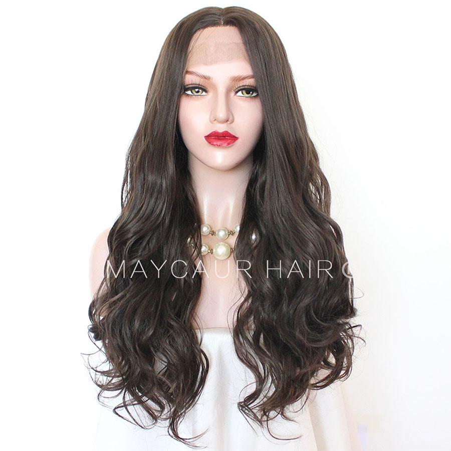 Maycaur Lace Front Wigs 22'' Brown Color Long Wavy Synthetic Hair Wigs For Black Women 180% Density