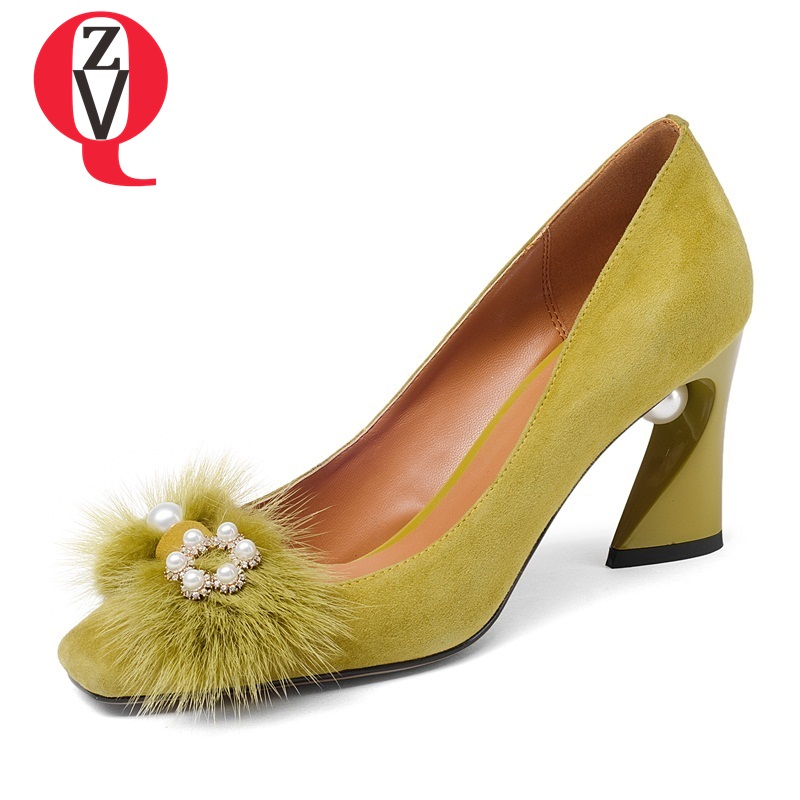 ZVQ fashion shoes thick high heels pointed toe shoes ethnic new arrival noble grind square toe arenaceous woman real fur pumps