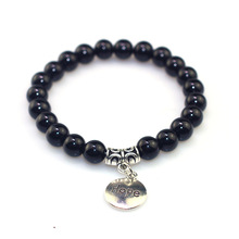 цены на 2019 Simple Pendant Couple Black Stone Beaded Bracelet Alloy Bright Stone Bracelet Dream Hope Live Love Imprint Stone Bracelet  в интернет-магазинах