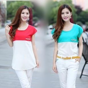 2013 plus size female t-shirt short-sleeve patchwork pocket rhinestones summer chiffon shirt