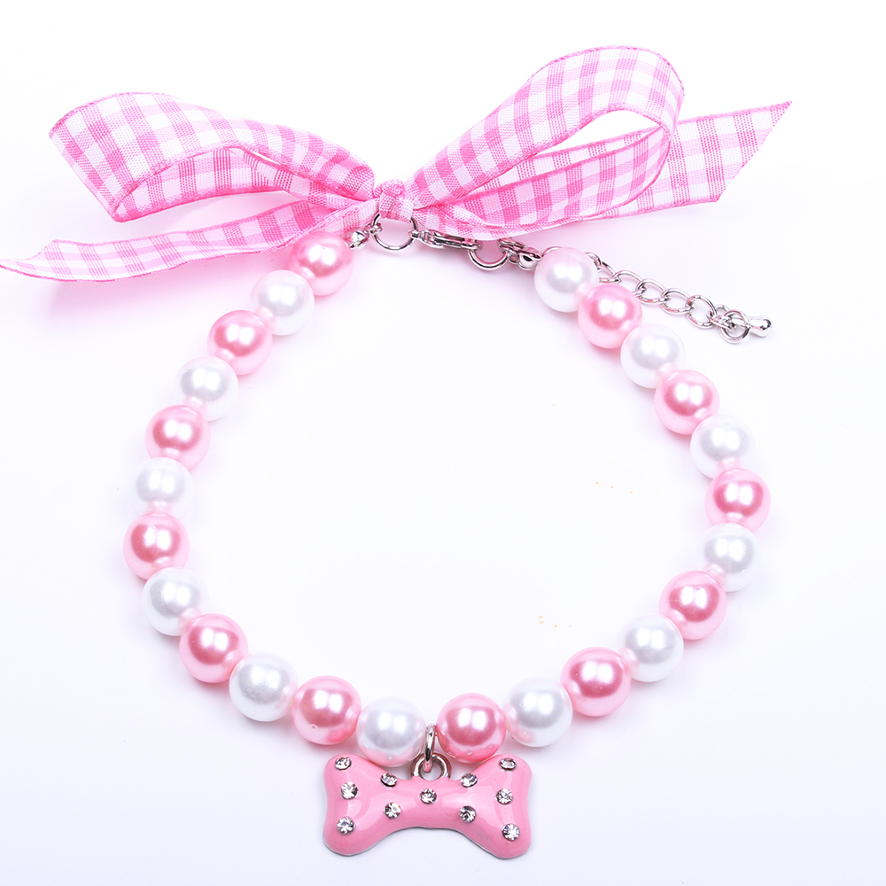 Dog Cat Pearls Necklace Collar Lovely Bone Charm Pendant Pet Puppy Jewelry Accessoried 5 sizes 5 colours