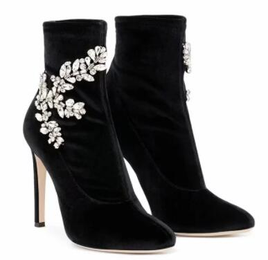 New 2019 Sexy Black Flock  Ankle Boots Rhinestones Pointed toe Stiletto High Heel Women Boots Shoes Woman 35-43New 2019 Sexy Black Flock  Ankle Boots Rhinestones Pointed toe Stiletto High Heel Women Boots Shoes Woman 35-43