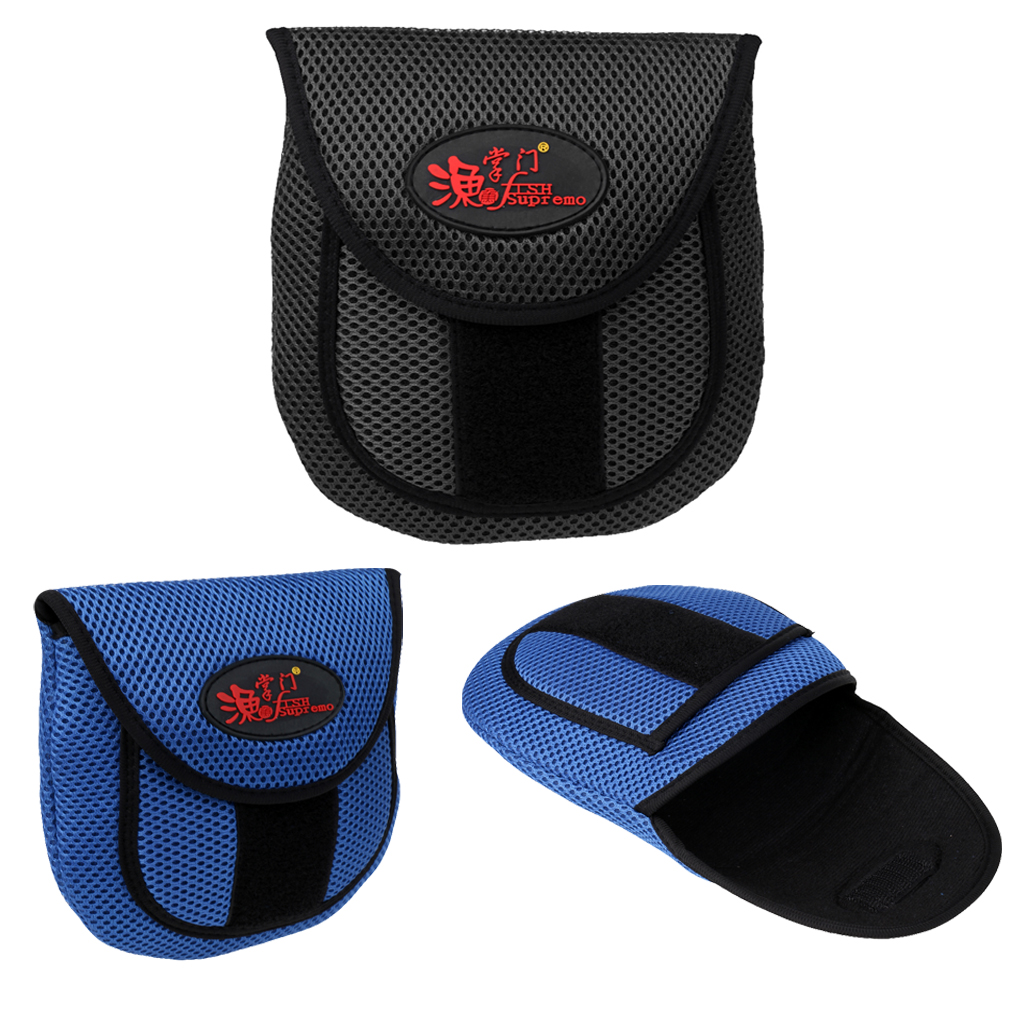 Image 5 - Mesh Cloth Fly Fishing Reel Storage Bag Protective Cover Case Pouch Reel Holder Protector Black/Blue 19.5 x 18 x 2cm-in Fishing Bags from Sports & Entertainment