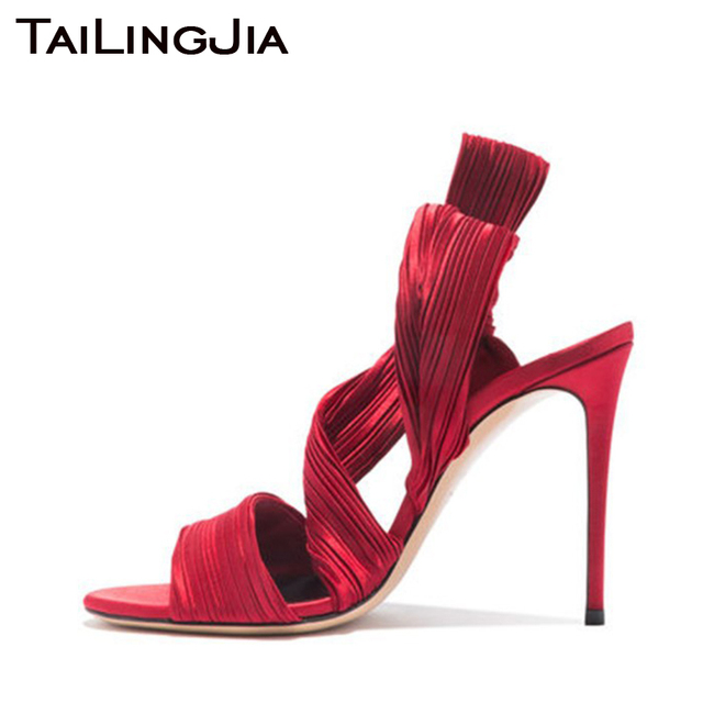 Wine Red Silk High Heel Woman Sandals Women Shoes Open Toe Brand Sexy Wedding Party Ladies Summer Shoes Handmade High Quality