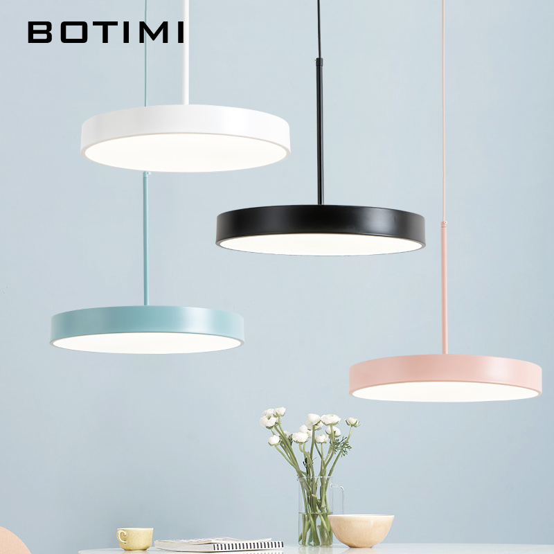 Botimi 220V Modern LED Pendant Lights with Round Metal Lampshade For Dining Room Simple Hanging Lamp kitchen Lighting FixturesBotimi 220V Modern LED Pendant Lights with Round Metal Lampshade For Dining Room Simple Hanging Lamp kitchen Lighting Fixtures