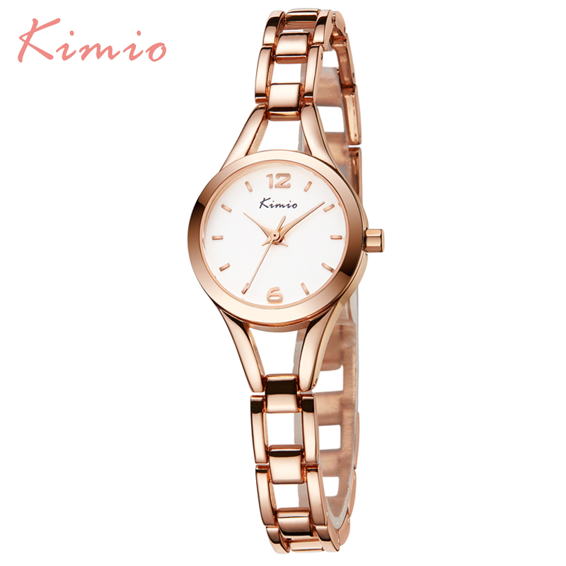 KIMIO Ladies Simple Small Round Dial Rose Gold Skeleton Bracelet Womens Watches 2017 Top Brand Casual Quartz Watch Waches Women kimio exquisite zircon small dial hand chain bracelet watch strap rose gold quartz watch women clock womens watches top brand