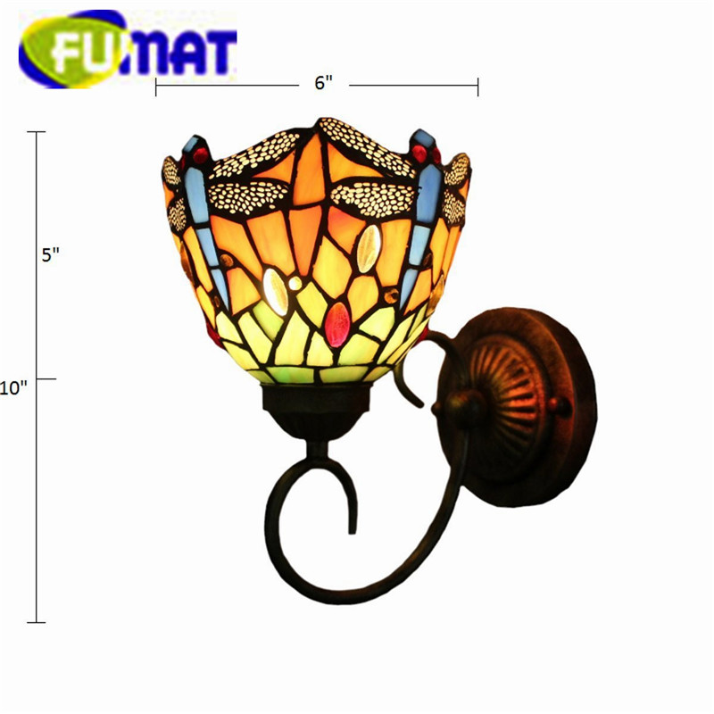 "Купить с кэшбэком FUMAT Tiffany Wall Lamp LED Sconces Stained Glass Luminaria Corridor Light Dragonfly Mirror Front Lamp E14 6"" Passage Wall Light"
