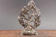 Exquisite Chinese hand carved  Tibetan silver statue of coins tree (Yao Qian Shu)