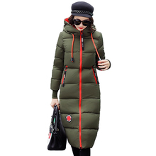 Long parkas for women 2019 winter Down cotton jacket Thick warm Hooded tops fema