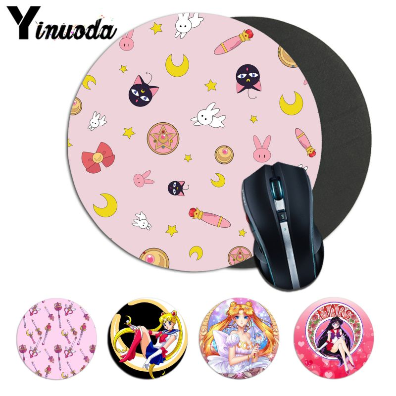 Yinuoda Beautiful Anime Sailor Moon Anime Girl  Soft Rubber Professional Gaming Mouse Pad Computer Comfort Small Round Mouse Mat