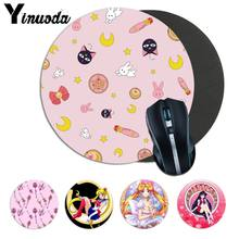 Yinuoda Beautiful Anime Sailor Moon anime girl Soft Rubber Professional Gaming Mouse Pad Computer Comfort small round Mouse Mat(China)