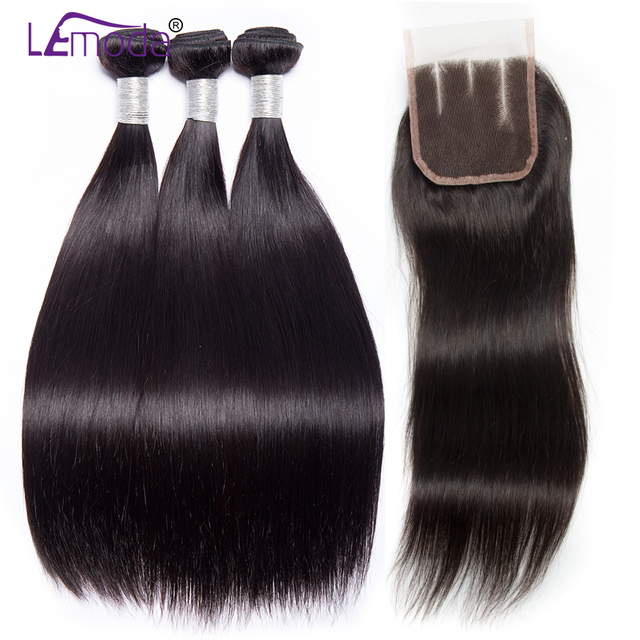 LeModa Brazilian Straight Hair With Closure Human Hair 3/4 Bundles with Closure Remy Hair Weave extensions Dyeable