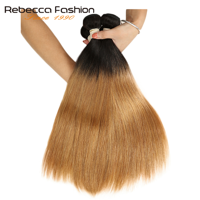 Rebecca 2 Tone Color Ombre Brazilian Straight Hair Bundles 3/4 Pcs Non Remy 100% Human Hair Bundles T1B/27# T1B/30# T1B/99J#