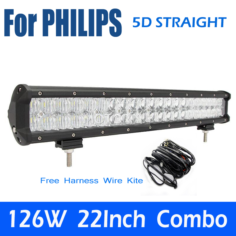 For PHILIPS 5D Straight 126W 20 LED Work font b Light b font Bar Offroad Driving