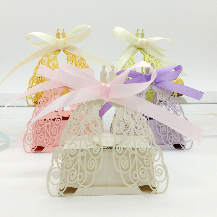 hot sell wedding party diy romantic candy cookie gift boxes peacock design ribbon wedding favor creative