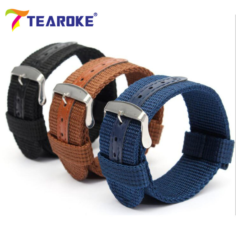 TEAROKE Army Canvas Nylon Fabric Watchband 20mm 22mm Dark Blue Pin Buckle Replacement Belt Watch Band Strap Watch Accessories nylon watchband 20mm 22mm watch strap stitched wristwatches band bottom is genuine leather bracelet pin buckle accessories