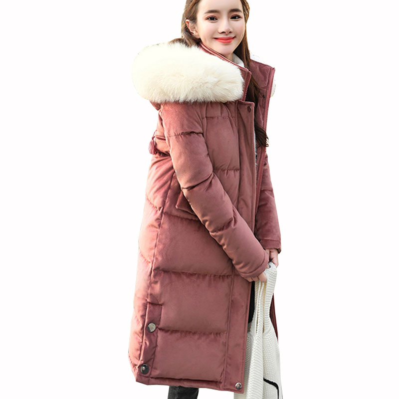 Winter Womens Velvet Down Cotton jacket Embroidery Letters Big Fur collar Hooded Coat Warm Loose Female Long Plus size Parkas363 winter jacket female parkas hooded fur collar long down cotton jacket thicken warm cotton padded women coat plus size 3xl k450