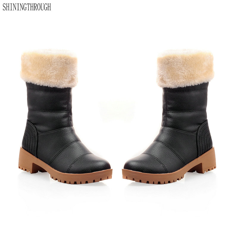 2018 New fashion mid-calf boots winter women boots warm snow boots casual shoes woman black beige yellow red рюкзак case logic 17 3 prevailer black prev217blk mid