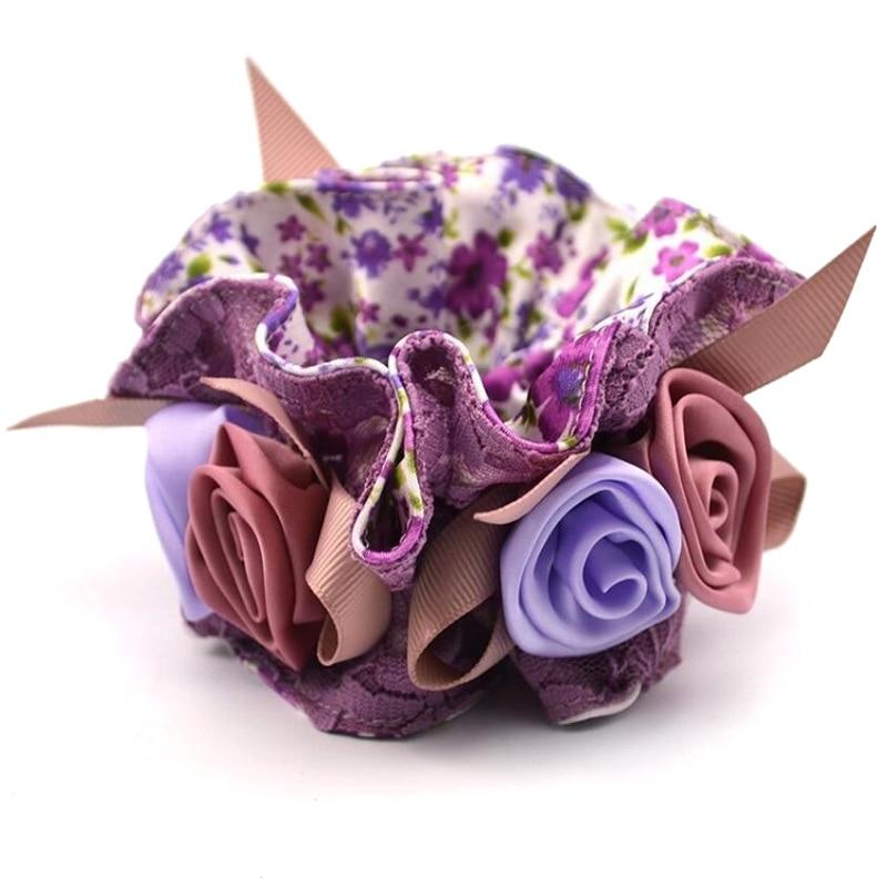 1Piece Matu Aksesuāri meitenēm un sievietēm mežģīņu matu virves Super Elastīgas galvassegu ziedu apdruka Ponytail Scrunchie augstas kvalitātes