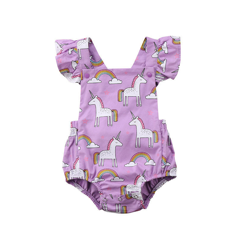 Cute Newborn Infant Baby Girl Summer Clothes Ruffles Sleeve Backless Cartoon Unicorn Romper Jumpsuit Outfit Sunsuit 0-24M 2017 floral baby romper newborn baby girl clothes ruffles sleeve bodysuit headband 2pcs outfit bebek giyim sunsuit 0 24m