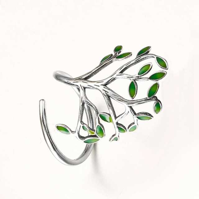GIEMI Top Quality 925 Pore Sterling Silver Jewelry Ring Fro Women Charm Anel Green Life Tree Hot Fashion Party Wedding Bijoux